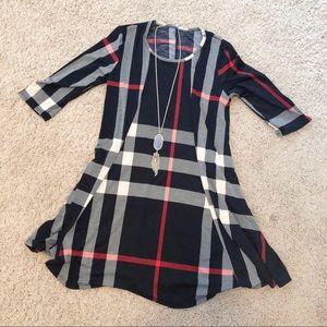 Dresses & Skirts - Plaid swing dress size small
